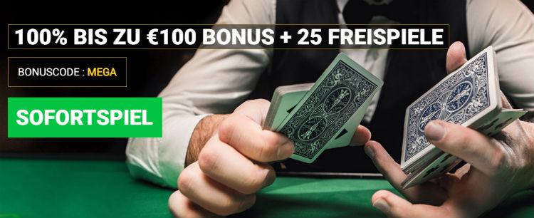 Mega Casino 100% bis zu 100 Euro Bonus