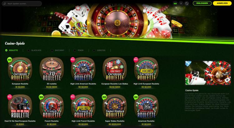 888 Casino Roulette Lobby