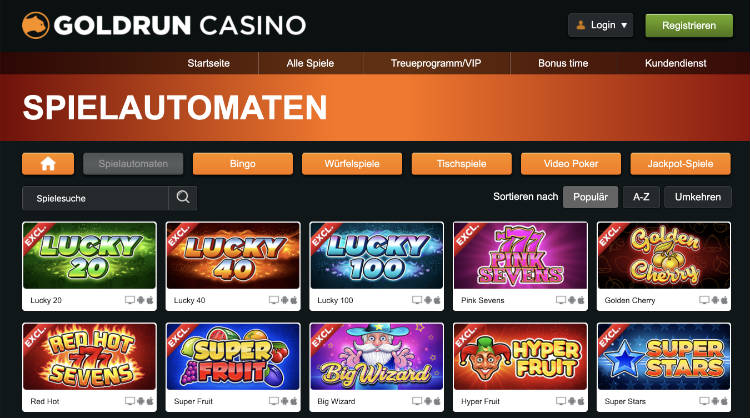 Goldrun Casino Free Spins ohne Einzahlung