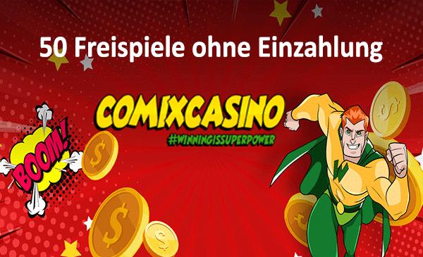 Comix Casino 50 Freispiele ohne Einzahlung